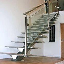 Straight Run Designer Stainless Steel Staircase