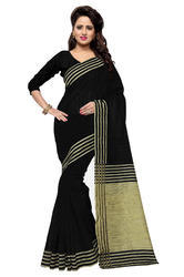 Mirchi Fashion Black N Beige Bhagalpuri Silk Casual Sari