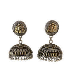 Dual Tone Antique Oxidized Jhumki