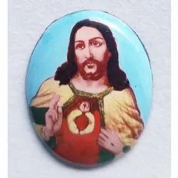 Multicolor Jesus Photo Stone