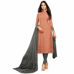 Rajnandini Dusty Orange Chanderi Silk Embroidered Semi-Stitched Dress Material With Printed Dupatta
