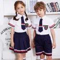 夏天白色和蓝色儿童学校制服