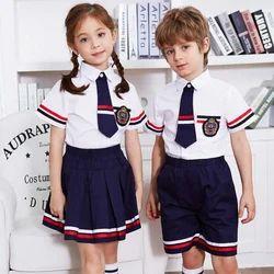 Summer White & Blue Kids School Uniforms