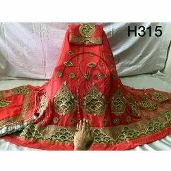 Party Wear Red Embroidered Ladies Unstitched Rajputi Poshak