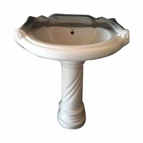 White Ceramic Designer Pedestal Wash Basins