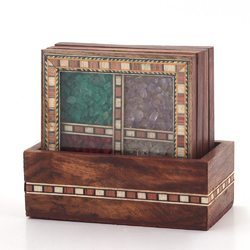 Antique Gemstone 4 Tea Coaster Set 198