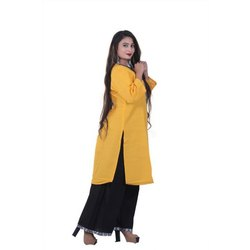 VJAPPARELS Dark Yellow Mustard Ladies Cotton Kurti