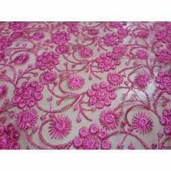 Floral Embroidered Design On Net Allover Fabrics