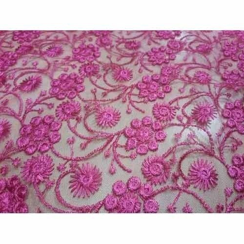 Floral Embroidered Design On Net Allover Fabrics,  Use: Suits & Sarees