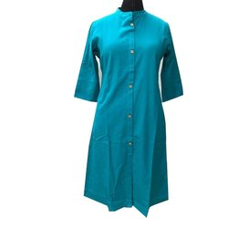 Straight 3/4th Sleeve Ladies Formal Wear Cotton Kurti, Wash Care: Machine wash