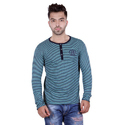 Mens Cotton Striped Fashionable Henley Neck T-shirts