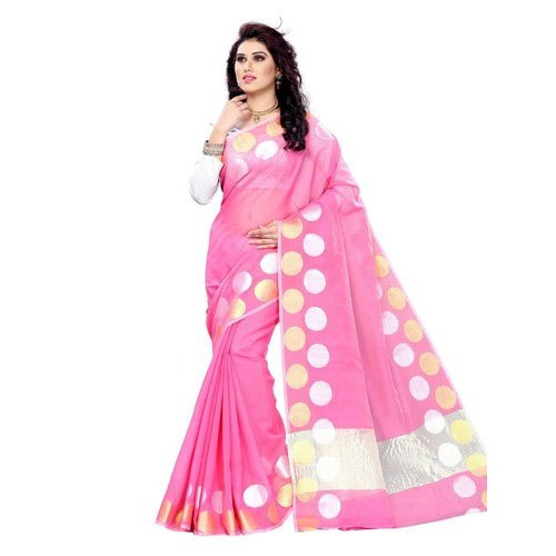 Casual Wear Printed Pink Cotton Saree, Length: 6.3 m (With Blouse Piece)
