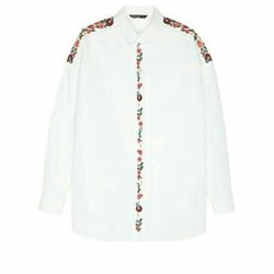 White Full Sleeves Ladies Embroidery Cotton Shirt