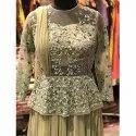 Peplum Self Embroidered Dress