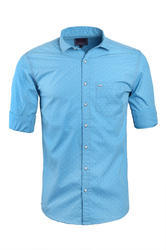 Printed Light Blue Casual Shirt