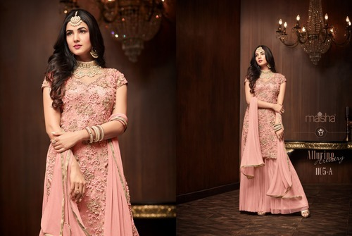3a1db37a269 Net Embroidary Moti Work Palazzo Suit