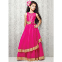 Girls Pink Net Gown, Size: Small