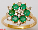Cluster Diamonds and Round Emeralds Traditional Gold Ring