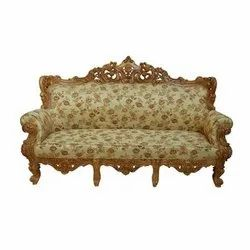 Modern Brown Wooden 3 Seater Carved Sofa