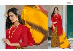 Red Cotton Linen Sarees