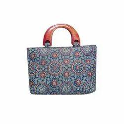 Regular Hand Bag Cotton ikkat kalamkari Ladies Printed Purse/ handbag, Size: A4