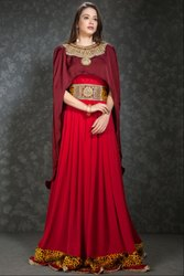 Fabulous Maroon Maxi Dress with Burgundy Capelet