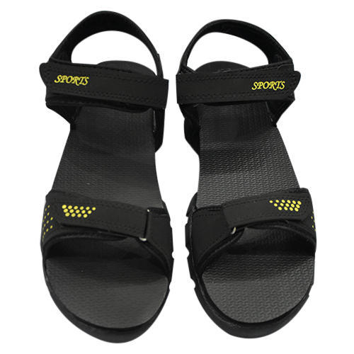 9a3f816c3 PU Leather Black And Yellow Trendy Mens Sandal