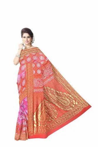 Red And Pink Color Fancy Design Banarasi Georgette Saree