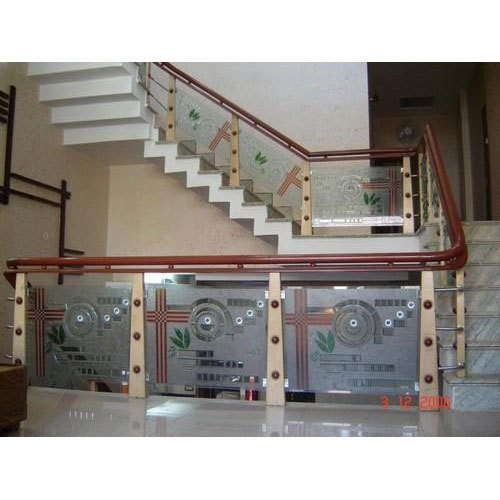 Stainless Steel Glass Designer Staircase Glass Railing Rs 1150