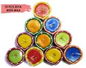 Handmade Traditional Terracotta Clay Diya Multicolor With Wax -10 Pc Set