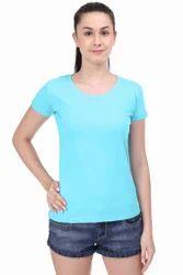 Cotton Half Sleeve Women Plain Round Neck T Shirt