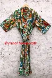 Women's Frida Kahlo Print Long Cotton Kimono Bath Robe Gown Jacket Dress
