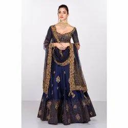 Chanderi Semi-Stitched Ladies Wedding Wear Lehenga Choli, Packaging Type: Packet