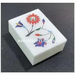 White Marble Inlay Box