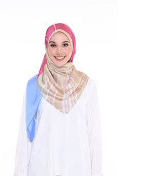 Multi Color Printed Satin Silk Square Scarf Hijab