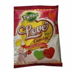 Tweast Hard Candy Heart Shaped Center Filled Candy, Packaging Size: 100 Pieces, Packaging Type: Packet