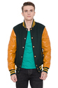 Caliber Apparels Dark Green Wool Body Gold Leather Sleeves Varsity - Men