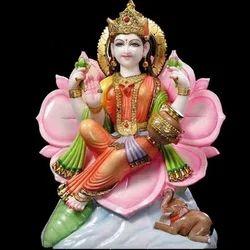 Painted Marble Laxmi Statue
