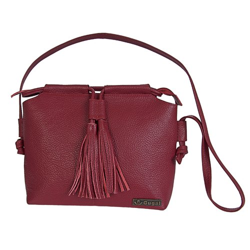 GUGALINDIA Red Genuine Leather Ladies Bag With Shoulder Strap