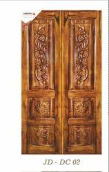 Brown Jagdamba Doors JD-DC 02 Wooden Double Carving Door, For Home