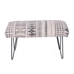 Cotton Printed Rug Upholstered Small Bench