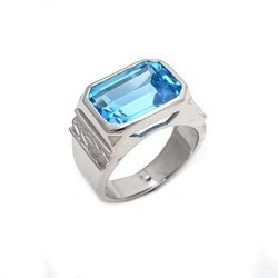 Blue Topaz Beautiful Figureout Personal Heart Touch Mens Ring Gorgeous Ring
