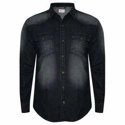 Black Shaded Mens Denim Shirt