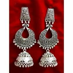 D9 Creation Oxidized Metal Oxidized Party Wear Earrings, Packaging Type: Box