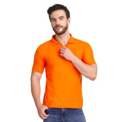 Cotton Half Sleeve Mens Orange Polo Neck T Shirts, Size: M-XXL