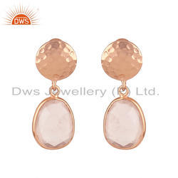 Handmade Rose Gold Plated Silver Rose Quartz Earrings Jewelry