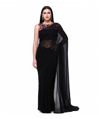 58570b5b10 Black Georgette Saree With Mirror Work Blouse, With Blouse Piece, Rs ...