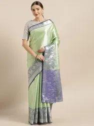 Kora Muslin Silk Blend Woven Design Kanjeevaram Saree