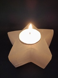 Star Shaped Selenite Candle Holder
