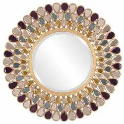 Wood,Glass Grace Jeweled Round Mirror, Thickness: 2-5mm